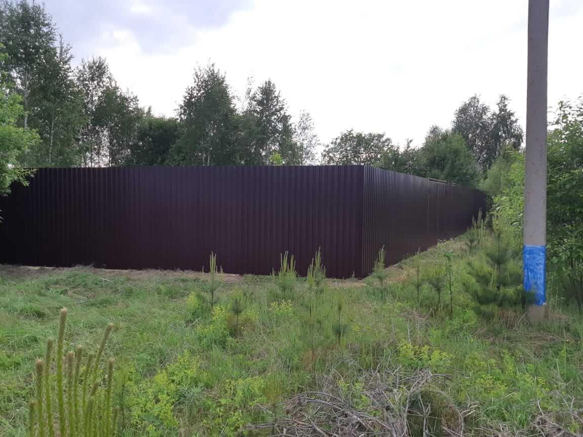 Забор из профлиста высотой 2,5 метра, Егорьевский район, Федотиха
